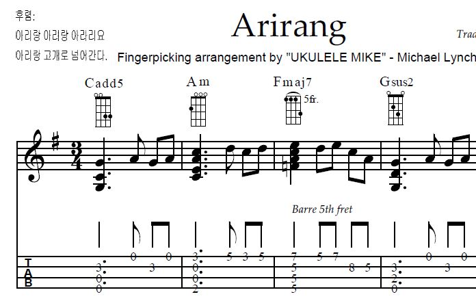 ARIRANG u2013 Traditional Korean Folk Song u2013 Arranged for ukulele by Ukulele Mike Lynch : UKULELE ...