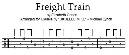 FREIGHT TRAIN by Elizabeth Cotten – Arranged for ukulele by Ukulele