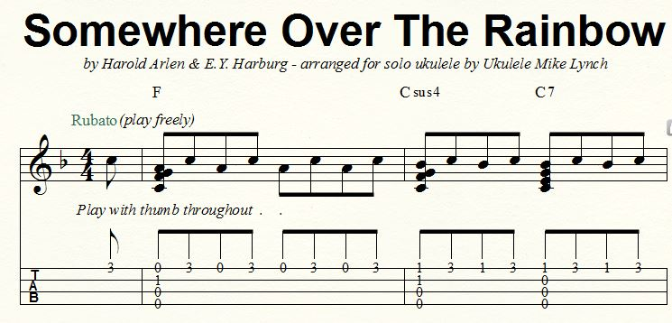 u201cSOMEWHERE OVER THE RAINBOWu201d . . . . . Solo Ukulele Chord/Melody arrangement by Ukulele Mike ...