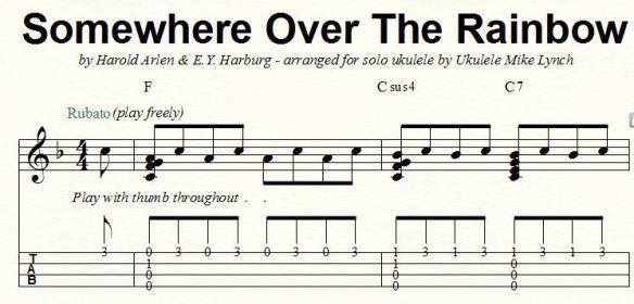 """SOMEWHERE OVER THE RAINBOW""""           Solo Ukulele Chord/Melody"""
