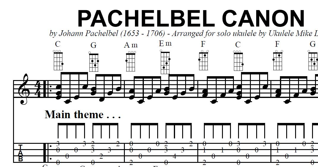 The u201cPACHELBEL CANONu201d arranged for solo ukulele by Ukulele Mike Lynch : UKULELE MIKE LYNCH - All ...