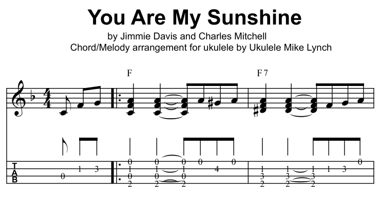 You Are My Sunshine Solo Ukulele Chordmelody Arrangement By