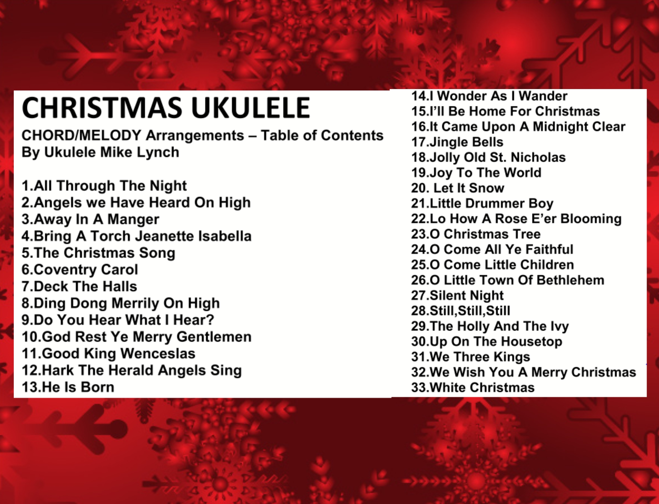 Perfect for holiday ukulele performances 33 song christmas christmas chord melody contents slide hexwebz Image collections