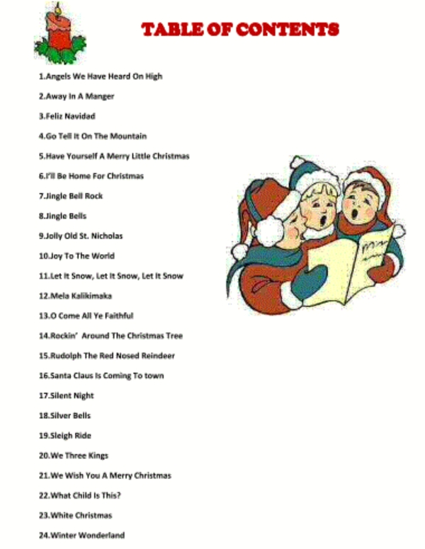 Christmas Sing A Long contents