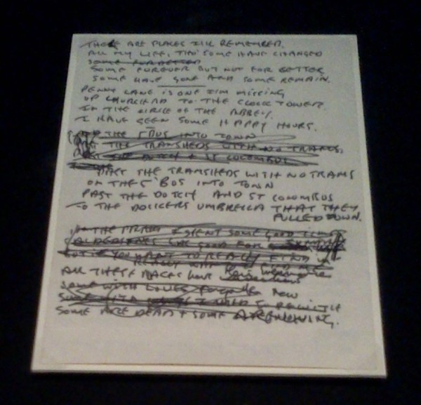 Lyrics of In My Life handwritten by John Lennon