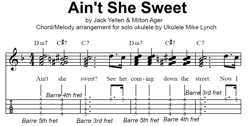 """AIN'T SHE SWEET"""" by Milton Ager & Jack Yellen         Chord"""