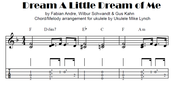 Dream A Little Dream Of Me By Andre Schwandt Kahn Chord