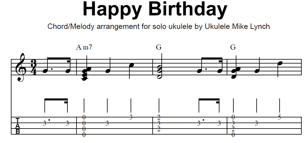 "HAPPY BIRTHDAY SONG"" . . . . CHORD MELODY ARRANGEMENT BY UKULELE ..."