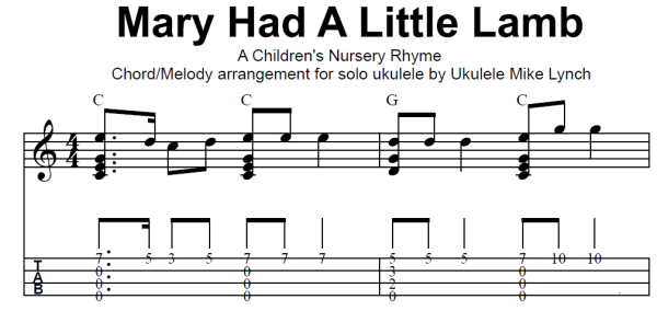 how to play mary had a little lamb on ukulele
