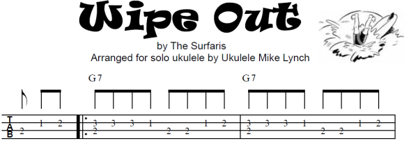 """WIPE OUT """" PERFORMED by The Surfaris         Chord Melody"""