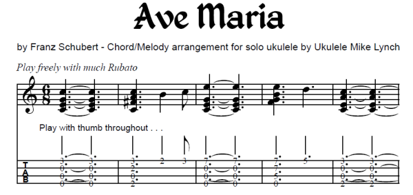 Ave Maria By Franz Schubert Chord Melody Arrangement By